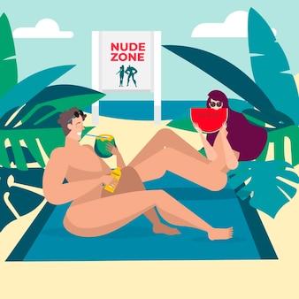 Flache designleute, die auf einer nacktzone sitzen