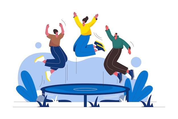 Flache designleute, die auf trampolin springen