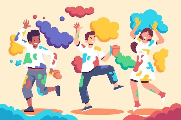 Flache designleute, die in den farben holi festival feiern
