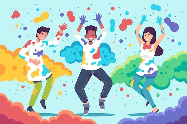 Flache designleute, die in den farben holi festival tanzen