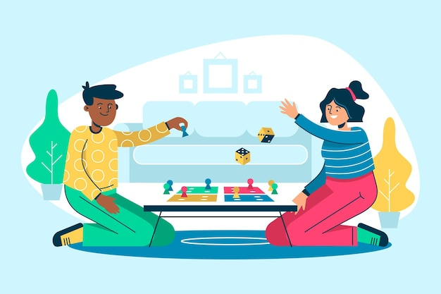 Flache designleute, die ludo-spielillustration spielen