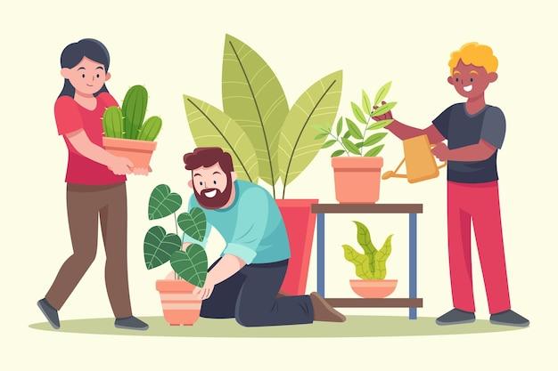 Flache designleute, die sich gemeinsam um pflanzen kümmern