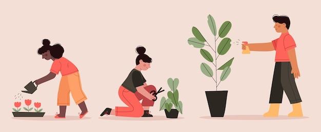 Flache designleute, die sich um pflanzen kümmern