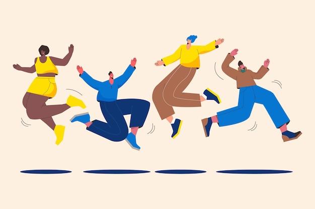 Flache designleute, die zusammen springen