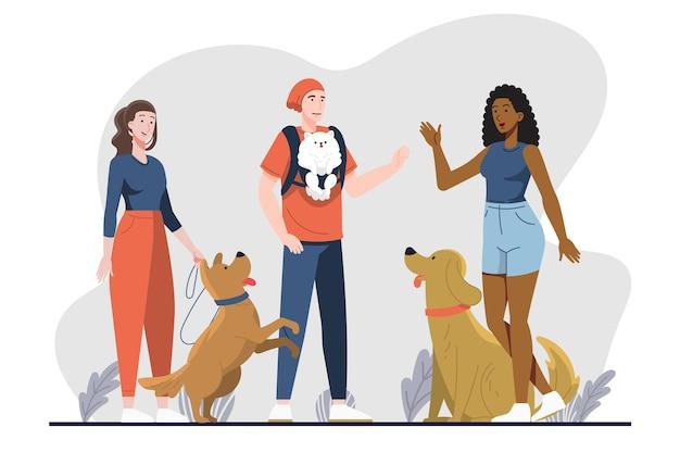 Flache designleute mit hunden