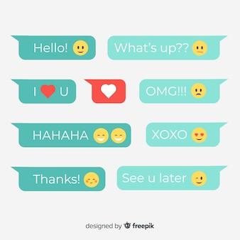 Flache designmitteilungsballone mit emojis