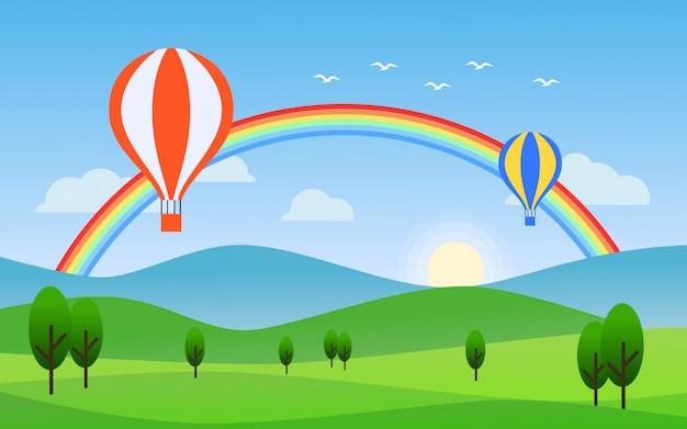 Flache designnaturlandschaft mit regenbogen und luftballon