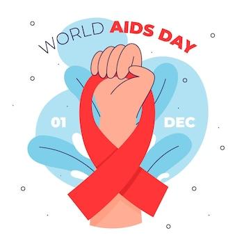Flache designperson, die ein aids-tagesband hält