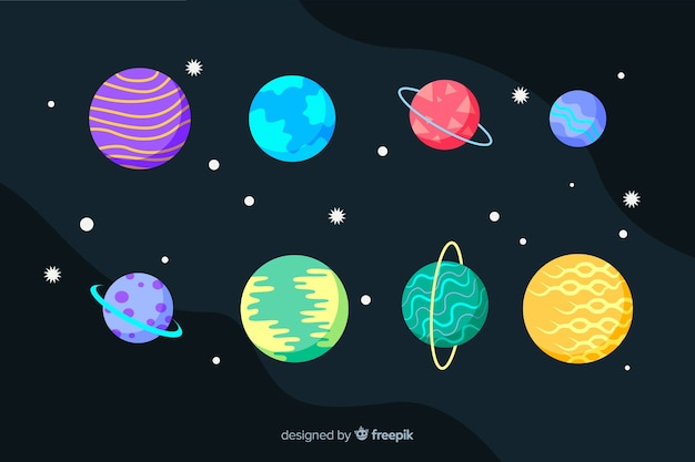 Flache designsammlung der planeten und der sterne