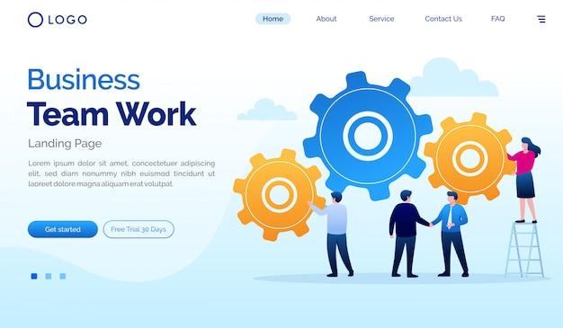 Flache designschablone der geschäftsteamarbeitslandungsseitenwebsite-illustration