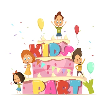Flache designschablone der kinderpartei für kinder mit riesigem kuchen und gruppe retro- v