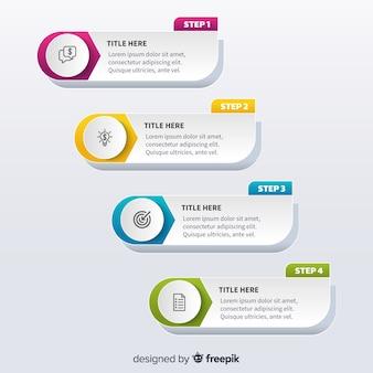 Flache designschablonenschritte infographic