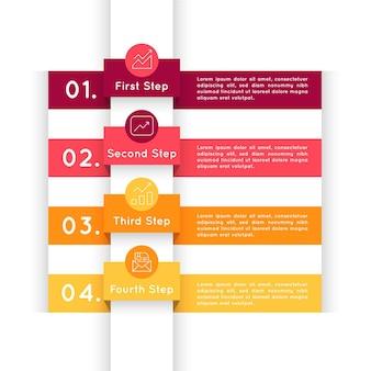 Flache designschritte infografik