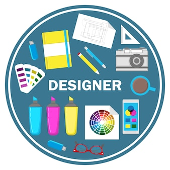 Flache designvektorillustration des designers.