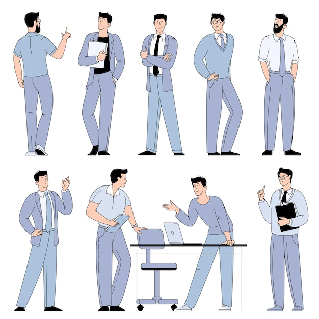 Flache designvektorzeichentrickfilm-figuren von jungen männern, die im büro arbeiten