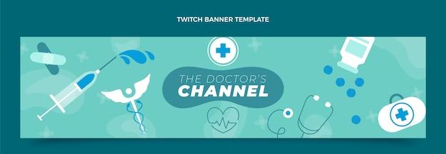 Flache designvorlage für medizinisches twitch-banner