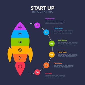 Flache designvorlage start infografik