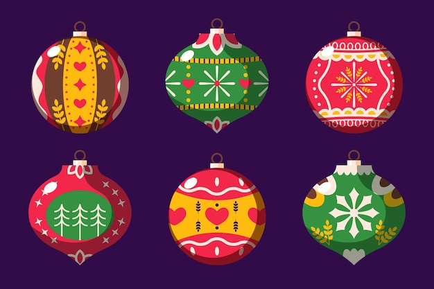 Flache designweihnachtsball-verzierungssammlung