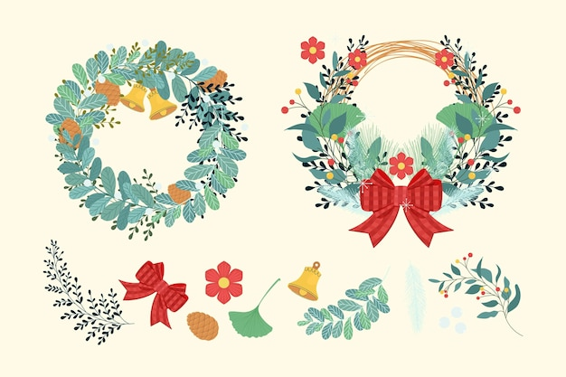 Flache designweihnachtsblumen- und kranzkollektion