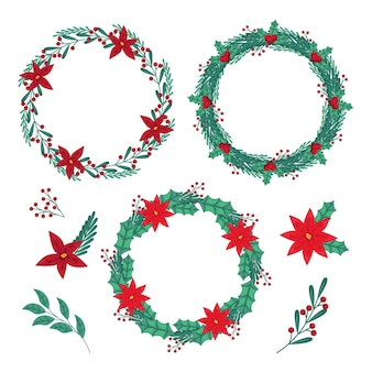 Flache designweihnachtsblumen- und kranzsammlung