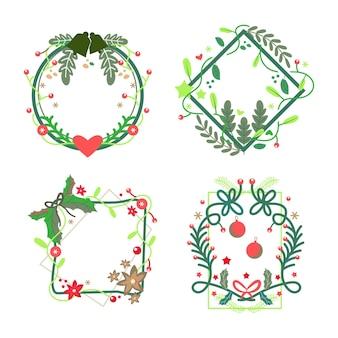 Flache designweihnachtsdekorationssammlung