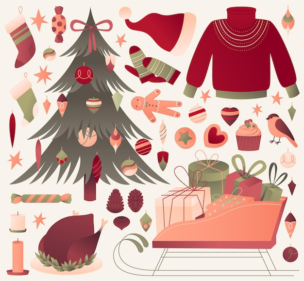 Flache designweihnachtselementsammlung