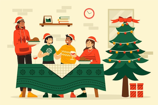 Flache designweihnachtsessen-szenenillustration
