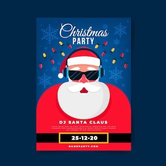 Flache designweihnachtsfeierplakatschablone
