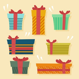Flache designweihnachtsgeschenksammlung
