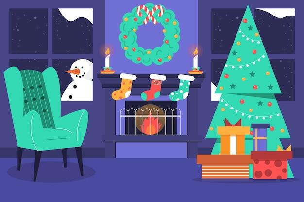 Flache designweihnachtskaminszene