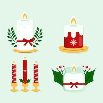 Flache designweihnachtskerzensammlung