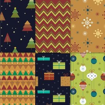 Flache designweihnachtsmustersammlung