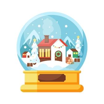 Flache designweihnachtsschneeballkugel mit haus