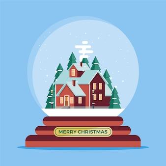 Flache designweihnachtsschneeballkugel