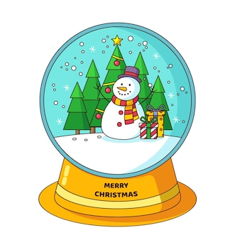 Flache designweihnachtsschneekugelkugel mit schneemann und weihnachtsbaum