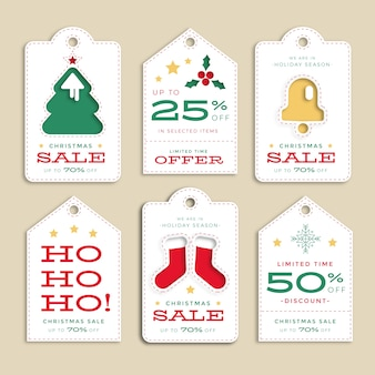 Flache designweihnachtsverkaufs-tag-sammlung