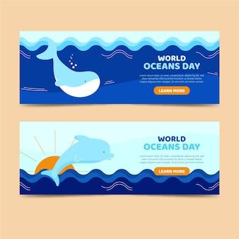 Flache designwelt ozeane tag banner vorlage