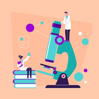 Flache designwissenschaft konzeptkonfiguration mit mikroskop