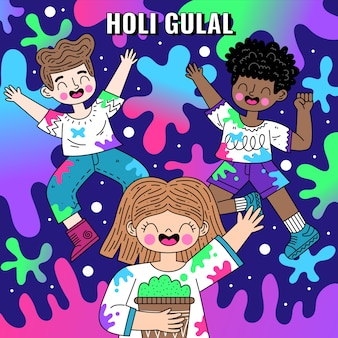Flache detaillierte bunte holi gulal illustration