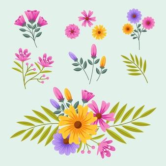Flache detaillierte frühlingsblumensammlung