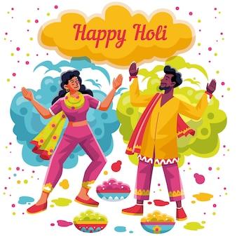 Flache detaillierte leute, die holi festival feiern