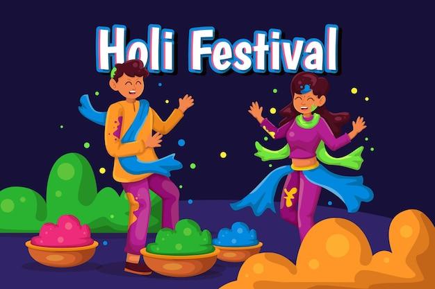 Flache detaillierte leute, die holi festivalillustration feiern