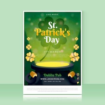 Flache detaillierte st. patrick's day poster vorlage