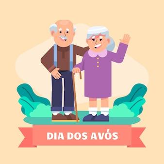 Flache dia de los abuelos illustration