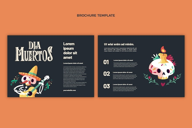 Flache dia de muertos broschürenvorlage