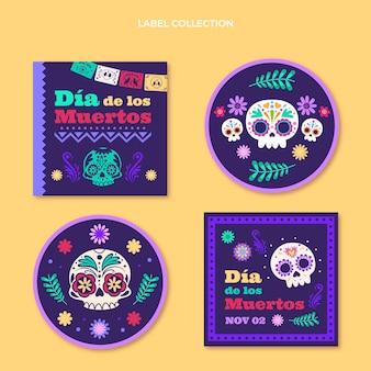 Flache dia de muertos etikettenkollektion