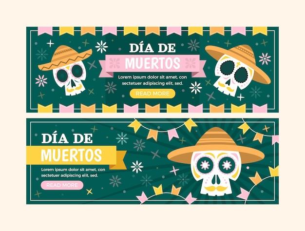 Flache dia de muertos horizontale banner-set