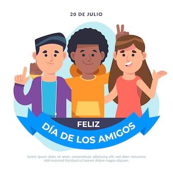 Flache dia del amigo illustration