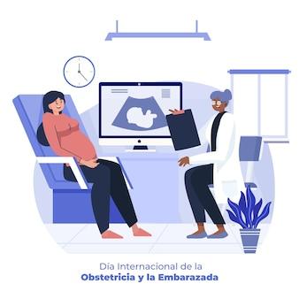 Flache dia internacional de la geburtshilfe y la embarazada illustration