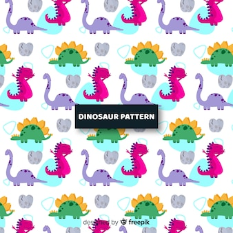 Flache dinosaurier-muster